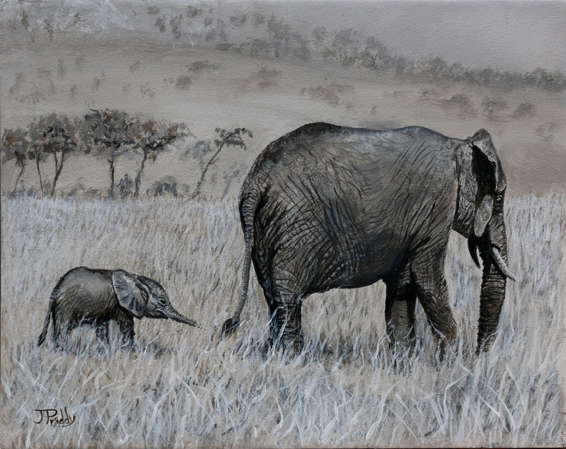 African Elephants - Oil Painting by Jan Priddy
