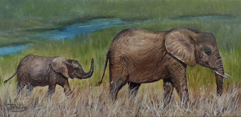 African Elephants, Oil Painting by Jan Priddy